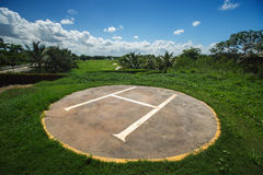 Helicopter base on the golf court in tropical resort, Punta Cana Stock Photography