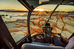 Helicopter in Bay of Fires Royalty Free Stock Photography