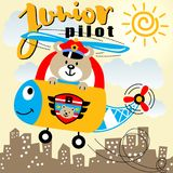 Helicopter with bear pilot. Cute bear the best helicopter pilot, vector cartoon. EPS 10 vector illustration