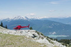 Helicopter. On Blackcomb Mountain at Whistler, BC royalty free stock photos