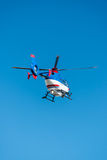 Helicopter on blue sky. Background Royalty Free Stock Images