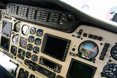 Helicopter cabin command Stock Images