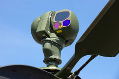 Helicopter camera. Helicopter mounted camera sight with infrared and CCD TV cameras on an attack helicopter Royalty Free Stock Photography