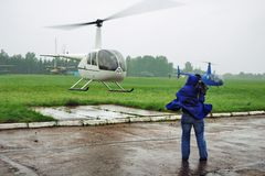 Helicopter and cameraman Stock Photo