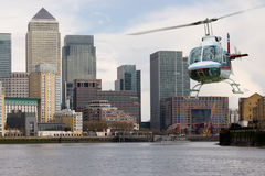 Helicopter Canary Wharf Stock Image