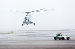 Helicopter car fog mist Royalty Free Stock Photos