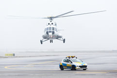Helicopter car fog mist Royalty Free Stock Image