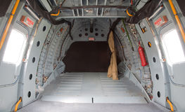 Helicopter cargo compartment. Indoor of helicopter cargo compartment stock image