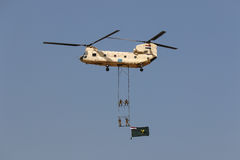 Helicopter CH-47 Chinook at the airshow in Cairo stock image