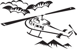 Helicopter chopper flying Royalty Free Stock Image