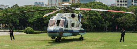 Helicopter at Chulalongkorn University. MARCH 25, 2014 - Chulalongkorn University. This picture was taken 12:02 P.M. at the grass field located outside the Royalty Free Stock Image