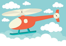 Helicopter in the Clouds Stock Photo