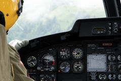 Helicopter cockpit. Instrumentation and navigational dashboard inside a helicopter Royalty Free Stock Photography