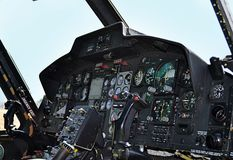Helicopter cockpit. Italian military helicopter cockpit royalty free stock images