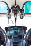 Helicopter cockpit. A helicopter cockpit with the control stick in the foreground and the instruments in the background Royalty Free Stock Photos
