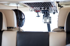 Helicopter Cockpit. Helicopter Cabin, cockpit and pilot back Stock Photography