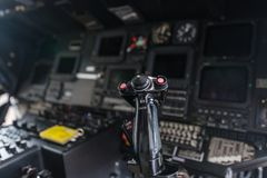 Helicopter cockpit. Close-up background Stock Photo