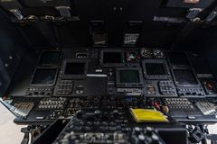 Helicopter cockpit. Helicopter interior cockpit close-up Royalty Free Stock Photos