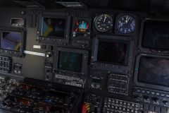 Helicopter cockpit. Helicopter interior cockpit close-up Royalty Free Stock Image