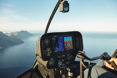 Helicopter cockpit with instruments panel Royalty Free Stock Photos