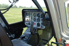 Helicopter cockpit interior. With the dashboard Stock Photos