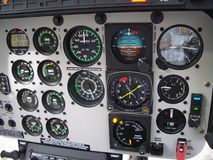 Helicopter cockpit panel. B407 helicopter cockpit intrument panel view Stock Photography