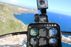 Helicopter cockpit view. (Flying over Maui, Hawaii Stock Photo