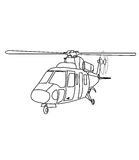 Helicopter coloring page. Hand drawn big helictoper coloring page for kids Royalty Free Stock Photos