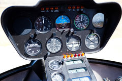 Helicopter control panel. Helicopter instrument and control panel Stock Photography