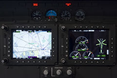 Helicopter control panel. Control panel in military helicopter cockpit, copter dashboard with displays, dials, buttons, switches, faders, knobs, other toggle Royalty Free Stock Photos