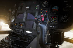 Helicopter control stick in side pilot cockpit Royalty Free Stock Images