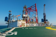 Helicopter deck with offshore rig. Helicopter deck with structure of offshore drilling rig stock photography
