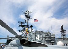 Helicopter on the deck of the USS Midway Royalty Free Stock Images