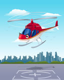 Helicopter departure Stock Photo