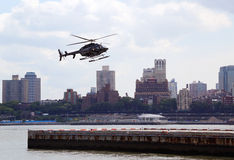 Helicopter an the Downtown Manhattan heliport Stock Images