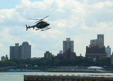 Helicopter an the Downtown Manhattan heliport Stock Image