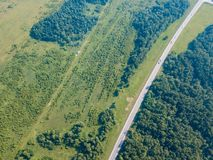 Helicopter Drone Shot Forest With Road Stock Photo