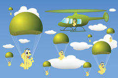 Helicopter drop of money royalty free illustration