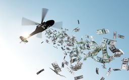 Helicopter dropping money in sky royalty free illustration