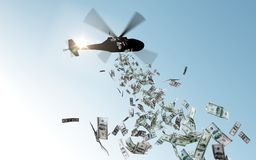 Helicopter dropping money in sky vector illustration