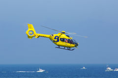 Helicopter e. Helicopter with blue sky and blue sea Stock Photography