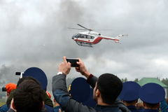 Helicopter emergency medical aid EU-145 on the range of Noginsk rescue center EMERCOM of Russia at the International Salon `Integr Royalty Free Stock Image