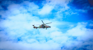 Helicopter Eurocopter EC665 Air Force Tiger flies over the Frenc Royalty Free Stock Image