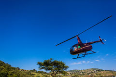 Helicopter Event Coverage Blue Stock Image