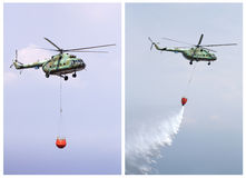 Helicopter extinguish fire Royalty Free Stock Photography