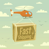Helicopter and fast shipping Royalty Free Stock Photos