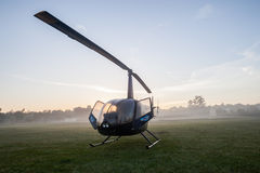 Helicopter Field Mist Morning Royalty Free Stock Image
