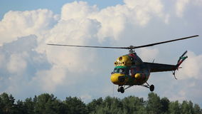 Helicopter flies over the forest, the rescue operation, prospecting stock video