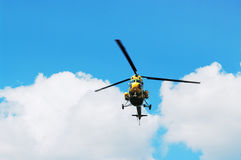 The helicopter in flight Royalty Free Stock Photo
