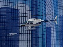 Helicopter flight. On a skyscraper background high resolution 3d rendered image Stock Photos